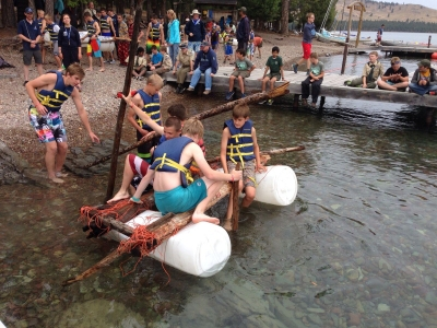 Raft contest at summer camp