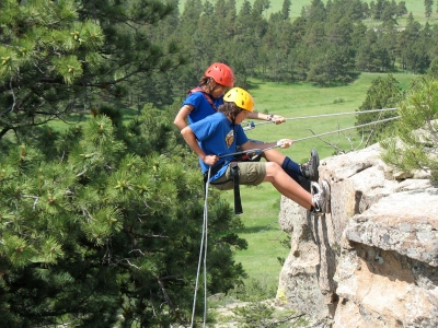Rappelling at summer camp