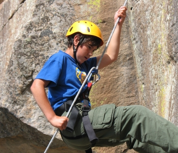 On rappel (abseiling)