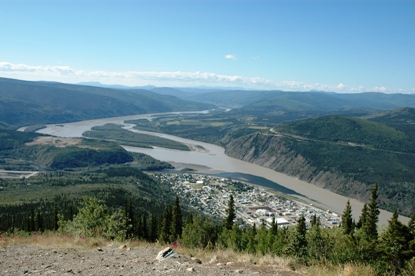 Yukon River Viewed from above Dawson City